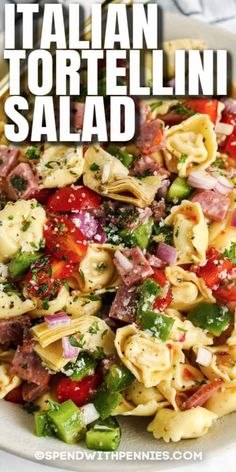 When it comes to pasta salads, it doesn't get better than this cold and creamy Italian Tortellini Salad! Colorful veggies and tasty filling make this the best side dish at the potluck! #spendwithpennies #italiantortellinisalad #tortellinisalad #sidedish #recipe #cold #creamy #easy #pasta #best Pasta Salad With Tortellini, Greek Salad Pasta, Pasta Salad Italian, Macaroni Salad, Cold Pasta Salads, Tortellini Recipes, Best Pasta Salad, Meat Salad, Soup And Salad