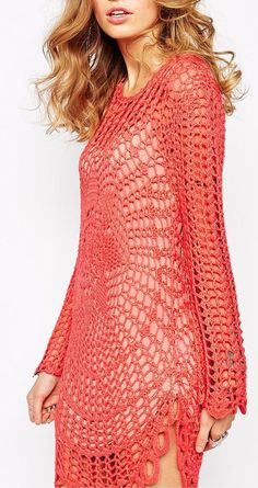 coral crochet tunic inspiration -- two large doilies sewn together at the sides with sleeves.