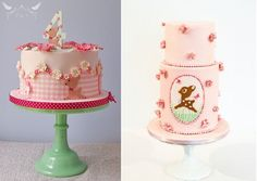 baby deer cakes, Bambi cakes by Romeo & Juliet Cakes left and Pasteles Alma right