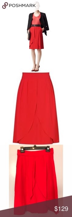 """{Reiss} Center Split Skirt Spectacular red skirt that will be sure to turn heads. Can be dressed up or down! Fully lined. Approx length: 24"""".                                  Location: B2 Reiss Skirts"""