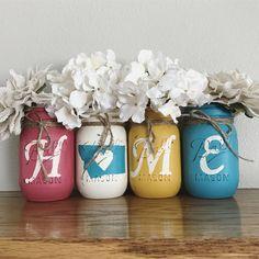 Montana HOME Mason jar set | rustic home decor | spring decor | Coral Teal yellow