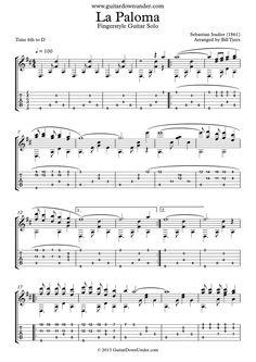 """""""La Paloma"""" arranged for fingerstyle guitar by Bill Tyers"""