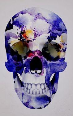 ☆ Skull Purple Flowers.。Art By :→: RUSS ☆