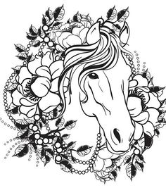 ADULT COLORING PAGE Fantasy Fairy Horse Flowers Garden Nature