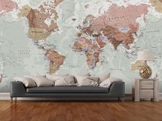 Executive Political World Map wall mural room setting