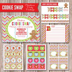 Christmas Cookie Swap Total Printable Party by sunshineinkdigitals, $22.50