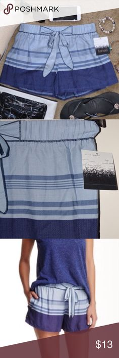 """KENSIE Women's Blue Stripes Kickin' Back PJ Short NEW WITH TAGS                                                                                    - Elasticized waist - Split side seams - Banded trim - Stripe print  - Approx. 11"""" rise, 2"""" inseam - Imported 100% rayon Machine wash Fit: this style fits true to size. Model's stats for sizing: - Height: 5'8"""" - Bust: 34"""" - Waist: 24"""" - Hips: 34.5"""" Model is wearing size S. Kensie Intimates & Sleepwear Pajamas"""
