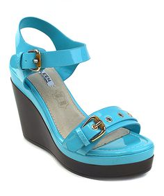 Look at this #zulilyfind! Blue Buckle Danuta Wedge Sandal by Elegant Footwear #zulilyfinds