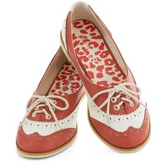 ModCloth Menswear Inspired Amalgam of the Year Flat featuring polyvore women's fashion shoes flats coral flat oxford flat oxford flats ballet pumps flat pumps white oxfords white ballet flats
