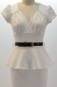 Blouse And Skirt, Peplum Dress, Lace Dress, Cute Modest Outfits, White Peplum, Designs For Dresses, Shirt Blouses, Fashion Outfits, Skirts
