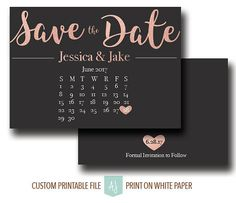 Rose Gold Save the Date with Calendar.  Click through for matching invites, RSVPs, details cards, and more.  Or shop our 1000+ designs for weddings, birthdays, anniversaries, and more.