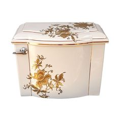 Custom toilet tank painted with Gold Orchids in matte and shiny metallic gold edged with fine black lines, highlighted with gold bands. Coordinates with our Gold Orchids hand-painted basins. By www.decoratedbathroom.com.