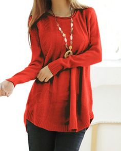 Casual Round Neck Long Sleeve Solid Color Loose-Fitting Women's Sweater