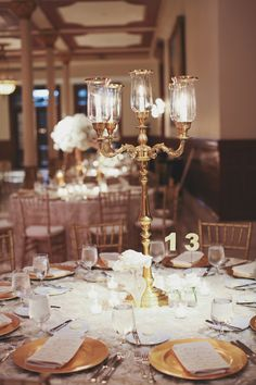 Gold Candelabra Centerpiece | photography by http://www.foreverphotographystudio.com/blog/