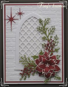 Homemade Christmas Cards, Christmas Cards To Make, Xmas Cards, All Things Christmas, Homemade Cards, Holiday Cards, Christmas Decorations, Memory Box Cards, Poinsettia Cards