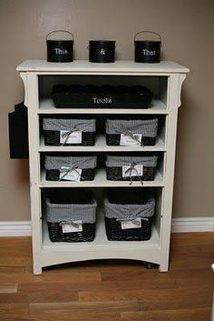 Another good re-purpose DIY! Don't throw out the chest of drawers when you buy a new set. Instead, paint or refinish it, and use it as a shelving unit with varying sizes of baskets.