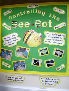 "BeeBot Robot teacher bulletin board ""Controlling the BeeBot"" shows various uses of this tangible tech (via teacher photos)"