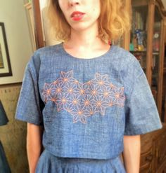 Heinui - DORI top in embroidered chambray