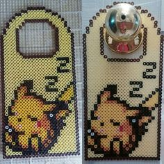 Sleeping Pikachu door hanger perler beads by kathlynenikki