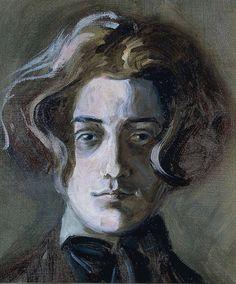 """dappledwithshadow: """" Egon Schiele Self-Portrait with Long Hair 1907 (age 16) """""""