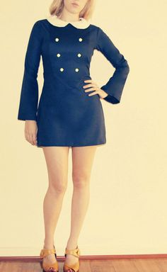 Navy blue long sleeve mod 60's white peter pan by Frenchie York, $58.00// Mod Fashion // Style