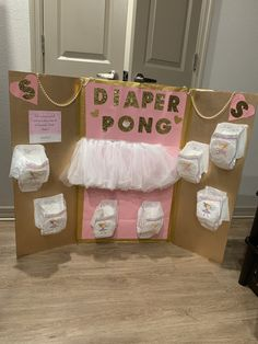 Pink and Gold Diaper Pong – Baby shower games – Pink und Gold Windel Pong – Babyparty Spiele – Comida Para Baby Shower, Regalo Baby Shower, Idee Baby Shower, Unicorn Baby Shower, Baby Shower Favors, Baby Shower Games, Baby Shower Parties, Baby Boy Shower, Shower Party