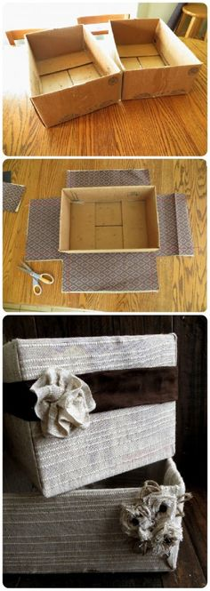 Fabric Covered Cardboard Box for great storage option – Home to Home DIY - Fabric Crafts - DIY Diy Storage Boxes, Craft Storage, Storage Ideas, Storage Solutions, Storage Baskets, Dyi Baskets, Organization Ideas, Cardboard Crafts, Fabric Crafts