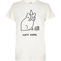 White animal embroidered fitted t-shirt - t-shirts / vests / sweats - sale - women