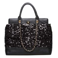 Glamorous Black Sequined Tote...perfect for the holidays.