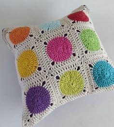 Dots Cushion cover -   Crochet  Cushion Cover - Afghan Motif