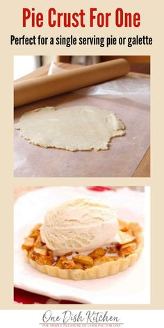 If youre cooking for one you may not want to bake a standard sized pie this single serving pie crust recipe is perfect to use when youre craving a pie for one. Mini Desserts, Single Serve Desserts, Single Serving Recipes, Single Serve Meals, Dessert For Two, Pie Dessert, Dessert Recipes, Dinner Recipes, Buttery Pie Crust Recipe