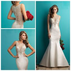 Allure 9252 - Gorgeous satin mermaid with Swarovski crystal illusion back and neckline.  This is a show stopper gown! Marry & Tux Bridal, Marry & Tux Bridal Shoppe, Marry & Tux Nashua, NH, Marry & Tux, Marry and Tux