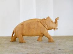 Vintage large wood Elephant Pendent by houuseofwren on Etsy,