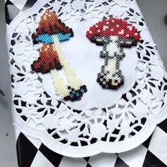 Mushrooms - Autumn hama beads by maria_evigglad