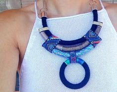 EDGY Ethnic Necklace Chunky Necklaces Gold by UtopiaManufactory
