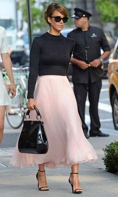 Jessica Alba in Ralph Lauren in New York
