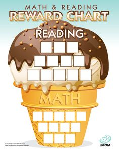 Make summer learning more fun with iMOM's Math and Reading Reward Chart. As your children read and calculate, let them check off the cone and scoop squares in our reading and math log. When they're all done, it's time for a trip to the ice cream shop! Reading Rewards, Behavior Rewards, Kids Rewards, Kids Sleep, Child Sleep, Baby Sleep, Reading Charts, Charts For Kids, Kids Nutrition