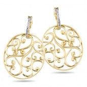 18K Yellow Gold over Sterling Silver, Diamond Accent Earrings