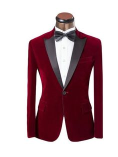 Mens Notched Peaked Lapel One-Button Blazer