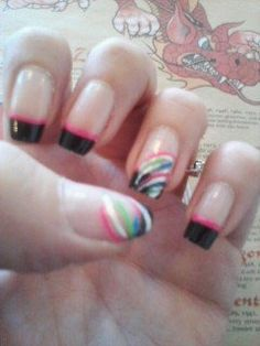 Black tip, pink trim