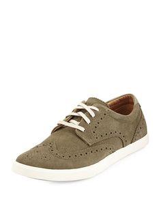 N37RK Cole Haan Joshua Suede Wingtip Oxford Sneaker, Fatigue