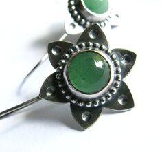 Green Adventurine Earrings  Bohemian Sterling Silver by Mocahete, $112.00
