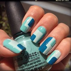 Geometric nail art design in China Glaze 'Re-freshmint',  'For Audrey',  & 'Shower Together'