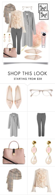 """""""Grey Friday #3"""" by xanthik ❤ liked on Polyvore featuring Sophia Webster, Oliver Peoples, L.K.Bennett, Topshop, Latelita, See by Chloé and Lancôme"""
