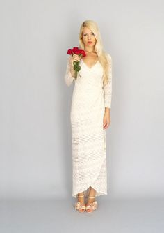 Marrakech+Vintage+ivory+stretch+lace+boho+wrap+gown+by+dahlnyc,+$598.00