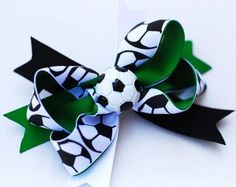 Soccer bow.  use purple instead of green to match Summer's uniform