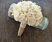 Handmade Wedding Bouquet Small- Ivory Burlap Bridal Bouquet, Keepsake Bouquet, Shabby Chic Wedding, Rustic Wedding
