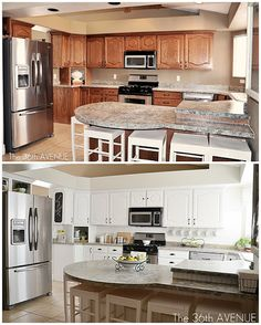 Kitchen makeover. Even the counter tops were painted. They used to be green. Loving the white! #kitchen