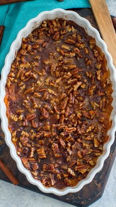 Sweet Potato Souffle is a delicious, rich and creamy side dish. Topped with crunchy, oven roasted pecans and a sprinkle of cinnamon sugar. #thanksgiving #sidedishes #sweetpotatosouffle #sweetpotatoes #sweetandsavorymeals #easyrecipes #holidayrecipes