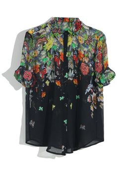 Black Gradient Floral Blouse. Description Black blouse, featuring pointed collar, medium sleeves, buttoned front, gradient butterfly and floral print to chest and back, loose styling, sheer chiffon fabric. Fabric Chiffon. Washing Cool hand wash with similar colours, cool iron, dry flat, do not tumble dry, do not bleach. #Romwe